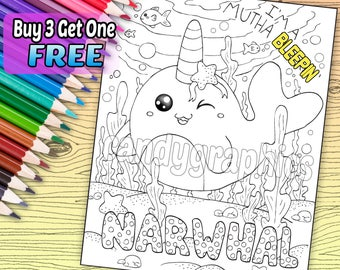SWEARY PAGE - I'm a Mutha Bleepin Narwhal - Adult Coloring Book Page - Printable Instant Download