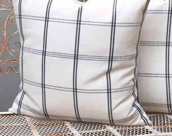 Woven Cotton Linen  Cream and Black  Windowpane Plaid  Pillow Cover  Designer  Fabric  Farmhouse / Modern