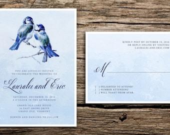 Blue Birds Wedding Invitation Set // Vintage Bird Wedding Invitations Sky Navy Serenity Blue Winter December January February Cards
