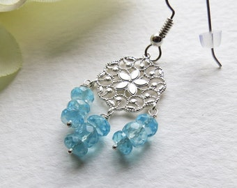 Chandelier Dangle Earrings Blues Apatite and Sterling Silver, Smokeylady54