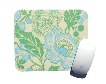 Mouse Pad / Fresh Poppies Green Light Sky Blue Holiday Gift / Amy Butler Midwest Modern / Home Office Decor