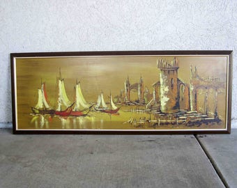 "Vintage Mid Century Harbor and Boat Scene. Acrylic on Board. Signed ""Golden"". Circa 1960's."