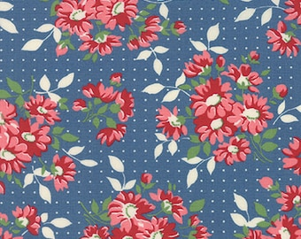 By the HALF YARD - Bread n' Butter by Sandy Klop for Moda, #21690-14 Dotted Daisy - Royal, Pink and Red Floral Bunches on White Dotted Blue