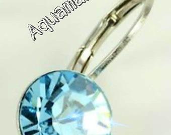 Aquamarine CRYSTALIZED Swarovski element earrings