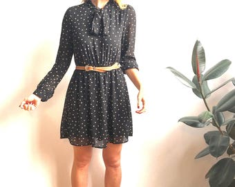 CHLOE Vintage Polkadot Black Double-Lined Polyester Long-Sleeve Mini Dress with Elastic Waist Synch and Ascot Bow Neck Tie