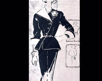 Vintage 50s AMAZING Wasp Waist Asymmetrical Collar Huge Cuffs Spadea Designer Jo Copeland Suit Pattern 1047-D B36