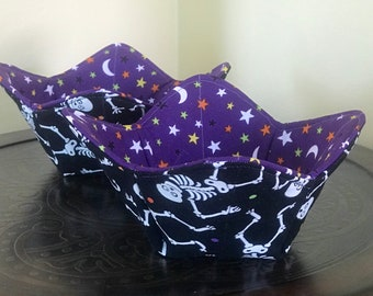 Glow in the dark skeleton and stars set of 2 quilted fabric bowl cozies