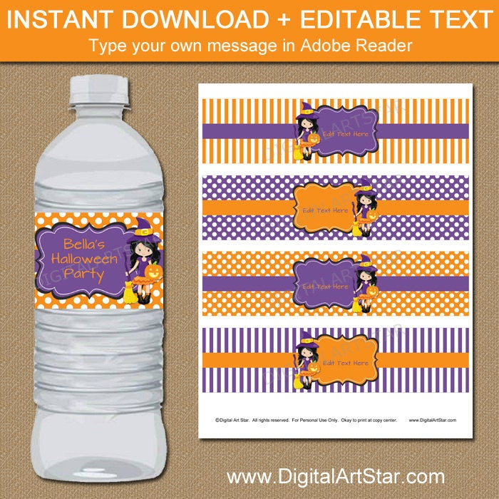 Printable Halloween Water Bottle Labels Cute Halloween Decor