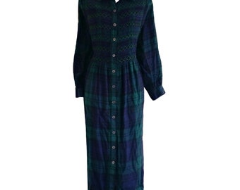 Vintage 90s Dress Flannel Check Grunge Maxi Plaid Maxidress Size Medium