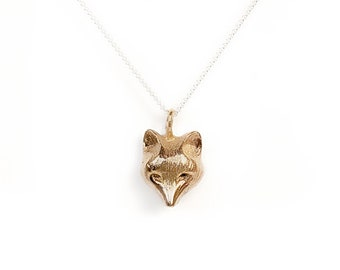 Fox Pendant in Bronze with a sterling silver chain