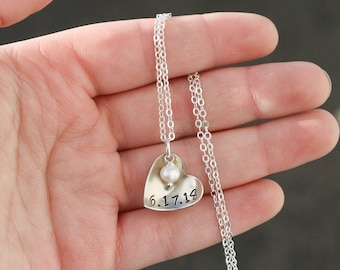 Personalized Baptism Necklace • Pearl Heart Gift Personalized Date Necklace • Baptism Gift Christening Jewelry • Heart Silver Necklace