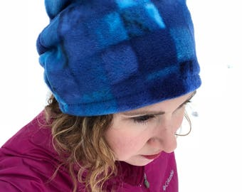 Blue Wave Slouch Hat Blue Fleece Hat Blue Slouch hat Slouchy Hat Neutral Slouch His Hers Gift Valentines Day Gift ski hat stylish