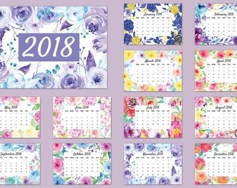 "2018 Calendar printable - watercolor floral garden calendar - 8"" x 11.5"" digital instant download scrapbook kitchen calendar"