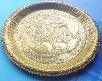 Scale of brass engraved, picture bird, tray