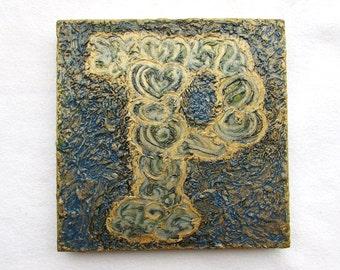 "Personalized Letter ""P"" on Wood Block--Original Handpainted--Monogram--Initial--Letter Art--Modern Textured--Wall Art Decor."