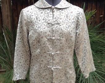 Vintage 80s cropped Satin brocade asian jacket ~ silver ~ retro