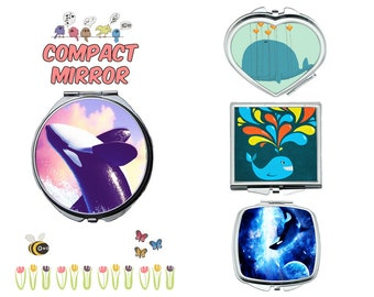 Whale compact mirror, makeup mirror, cosmetic mirror, portable mirror, double sided compact makeup mirror, purse mirror