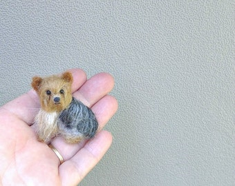 Pet Gift  Cute Pin of your dog Gourmet Felted /Custom  Needle Felted Miniature Pet Portrait / Sculpture Brooch / example  Yorkie