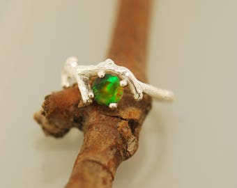 Bud Branch with black opal, twig ring, sterling twig ring, opal ring, alternative engagement ring,
