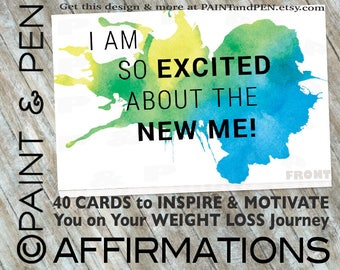 NEW ITEM! Weight Loss Affirmations- Inspire & Motivate- Health and Fitness Motivational Affirmation Cards- Positive Self Talk- Chromatherapy