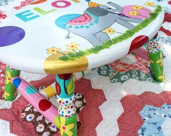 Elephant Stool Step Stool for Kids Birthday Party Stool Colorful Hand Painted Stool Polka Dots Personalized