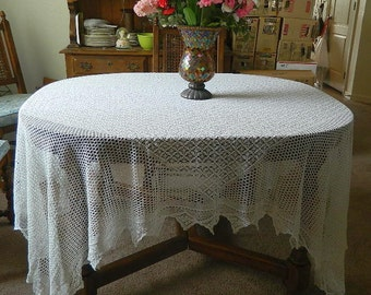 Hand Crocheted White Tablecloth - Rectangle - 100 x 78