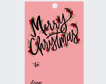Gift Tags - Pink Merry Christmas Lettering - Holiday - Set of 8