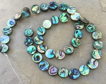 Abalone Disk Beads, 10mm, 16 inch strand