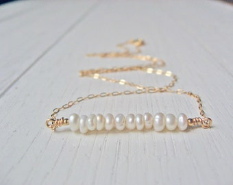 Pearl Bar Necklace, Bridesmaid Gift, 14k Gold Fill or Sterling Silver, White Freshwater Pearl Necklace, Dainty Pearl Bar, June Birthstone
