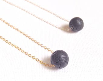 Lava stone diffuser necklace - Black lava rock necklace - Essential oil jewelry - Aromatherapy necklace - Birthday gifts - Gift for her