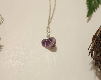 Sterling Silver Wrapped Amethyst - Comes With 18in Sterling Silver Chain Necklace
