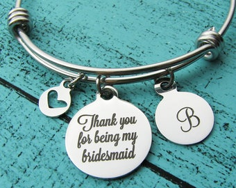 bridesmaid proposal, Thank you for being my bridesmaid bracelet, bridesmaid gift bridal party jewelry, wedding thank you gift for bridesmaid