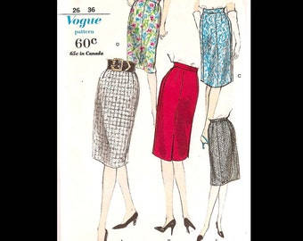 1960s Vogue Easy to Make Skirts Pattern 5588 - Vintage Sewing Pattern - CUT - Women's Waist Size 26 - Fashion DIY - Clothes - Pencil Skirt