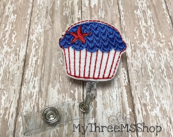 Patriotic Badge Reel, Cupcake Feltie Badge Pull, Independence Day Badge Reel, Retractable Name Tag ID Clip, 4th July Badge Holder,