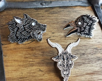 Black Magik Circle, Wolf, Raven and Goat Enamel Lapel Pin Set | High Polish, Enamel & Silver Plated