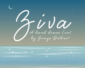 80% OFF SALE Ziva, Script Font, Hand Written Font, Downloadable Font, Handwriting Font, Font Download, Digital Font, Font