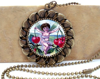 Cherry Fairy from Vintage Postcard  - Antiqued Brass Ornate Setting Necklace with matching ballchain