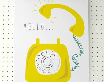 SALE Yellow Retro Telephone Print A3 Hello Poster Citrus Yellow White Graphic Art