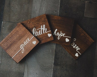 Faith Hope Love Grace Wood Coasters, Wood Coasters, Inspirational Coasters, Hand Painted Coasters