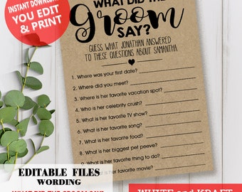 What Did the Groom Say Game Bridal Shower Wedding shower activity EDITABLE printable Instant download YOU EDIT Text & Print game WG115