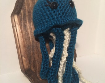 Amigurumi Crochet Taxidermy - Small Blue Jellyfish