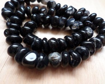 Black Agate Pebble Beads  8-10mm 15 inch Strand