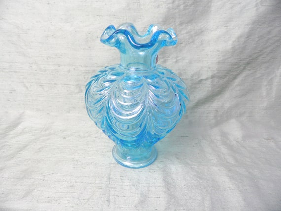 Fenton Blue Glass Fluted Patterned Ruffled Vase Vintage