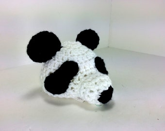 Baby Panda Bear Hat for Boys and Girls Crochet soft yarn Black and white Baby Hat