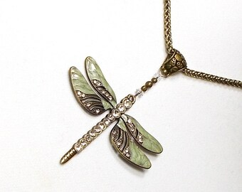 Dragonfly Necklace, Gold Dragonfly Necklace, Green Dragonfly Necklace, Dragonfly Pendant Necklace