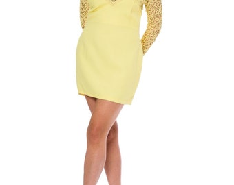 1960s Vintage Mod Yellow Embroidered Dress  Size: large