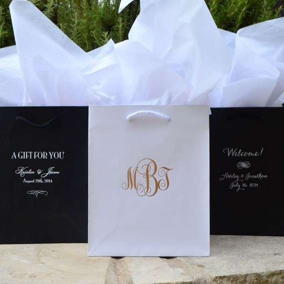 Gifts For Out Of Town Wedding Guests: 50 Custom Hotel Wedding Welcome Bags Personalized Printed
