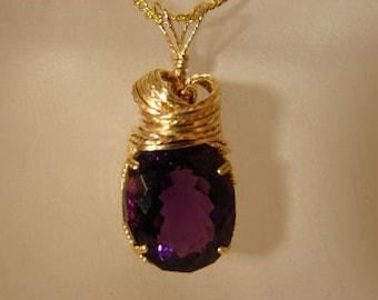 Purple Amethyst in 14K Rolled Gold Pendant