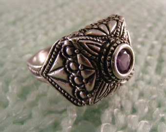 Vintage Amethyst Cubic Zirconia Ornately Cast Statement Ring in Sterling Silver.....  Lot 4263