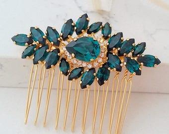 Bridal Hair Comb,Emerald Hair Comb,Wedding Hair Accessory,Emerald Hair Comb,Wedding headpiece,Crystal hair comb,head piece,Gatsby Headpiece